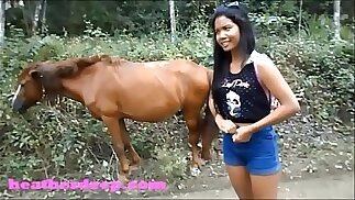 HD Heather Deep wheeling on scary fast quad and Peeing next to horses in the