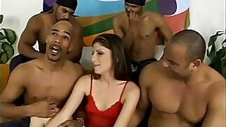 Four black thugs give their gravy on pretty face of nasty with blue eyes Katie Lane after gang banging her little treasure box
