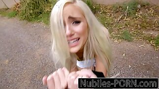 Punished teen blonde gets hard fuck and creampie