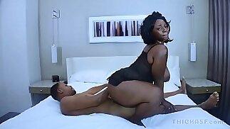 Ebony girl Juicy Thycc gives head and wet pussy to BBC