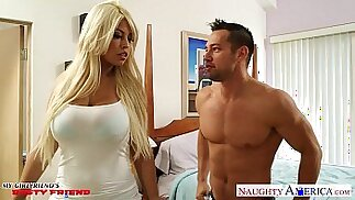 Busty blonde gf Bridgette B gets tits and fucked