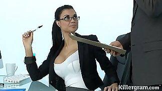 Sexy Milf Jasmine Jae plays the office with slut addicted to hard cock