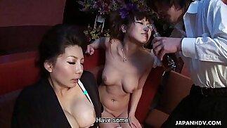 Two smoking hot Japanese girls enjoy a wild threesome