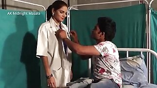 Hindi Lady doctor Shruti bhabhi with doctor and patient boy in blue saree hot scene