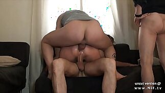 Small titted squirt french slut fucked hard double penetrated in a gangbang