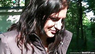 Bitch STOP Busty teen Veronika fucked outdoor