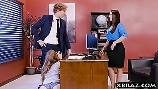 Office threesome session with two bosses and a sexy employee