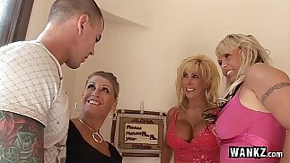 Horny Housewives Gangbang Lucky Guy!